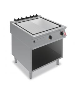 This is an image of a Falcon F900 800mm Half-Ribbed Steel Griddle on Fixed Stand E9581R
