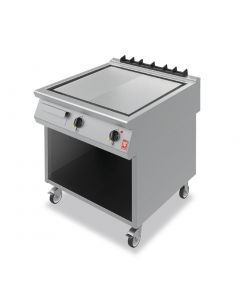 This is an image of a Falcon F900 800mm Half-Ribbed Steel Griddle on Mobile Stand E9581R