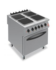 This is an image of a Falcon F900 Four Hotplate Electric Oven Range on Castors E9184