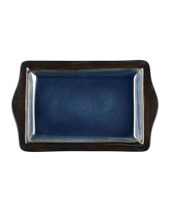 """This is an image of a Olympia Nomi Blue Tapas Rectangular Tray - 283x178mm 11x7"""" (Box 6)"""