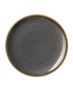 "This is an image of a Olympia Kiln Smoke Round Coupe Plate - 280mm 11"" (Box 4)"