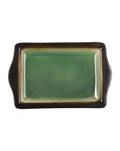 """This is an image of a Olympia Nomi Green Tapas Rectangular Tray - 11x7"""" 283x178mm (Box 6)"""