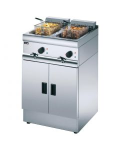 This is an image of a Lincat Silverlink 600 Free Standing Double Electric Fryer J12
