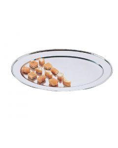 """This is an image of a Olympia Oval Serving Tray StSt - 400mm 16"""""""