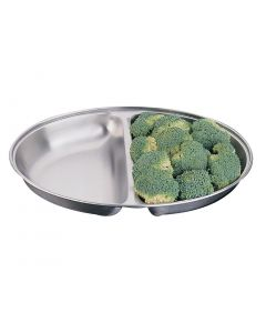 """This is an image of a Oval Vegetable Dish StSt 2 division - 254mm 10"""""""