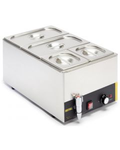 This is an image of a Buffalo Bain Marie with Tap with Pans 2x13 and 2x16 Pans 150mm Deep Inc Lids