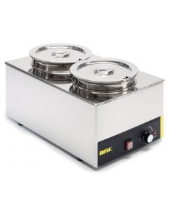 This is an image of a Buffalo Bain Marie without Tap with Two Round Pots
