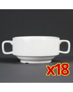 This is an image of a Olympia Whiteware Soup Bowls with Handles C239 (Box 18)