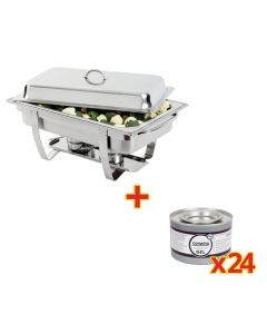 This is an image of a Sale Offer  Milan Chafer Set GN - 11 K409 with 24 Olympia Gel Fuel Tins CE241
