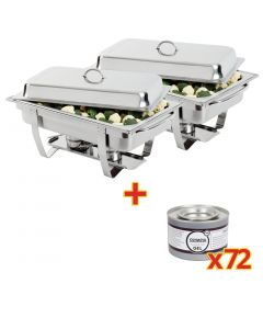 This is an image of a Sale Offer  Milan Chafer (Pack 2) S300 with 72 Olympia Gel Fuel Tins CE241