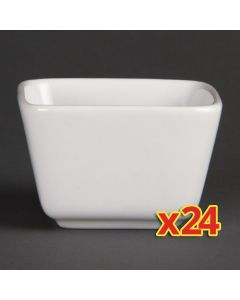 This is an image of a Olympia Whiteware Mini Dish Tall Square White - 75x75x48mm U178 (Box24)
