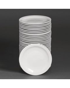"""This is an image of a Bulk Buy - Athena Hotelware Narrow Rimmed Plate - 205cm 8"""" (Box 36)"""