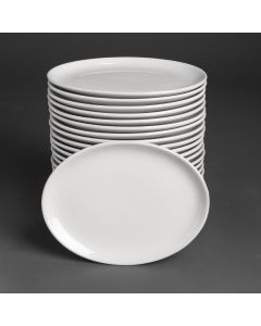 """This is an image of a Bulk Buy - Athena Hotelware Oval Coupe Plate - 254x178mm 10x7 34"""" (Box 24)"""