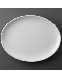 """This is an image of a Bulk Buy - Athena Hotelware Oval Coupe Plate - 305x242mm 12x9 12"""" (Box 24)"""