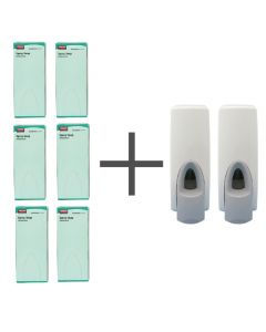 This is an image of a SALE OFFER 6 Rubbermaid Anti Bacterial Spray Soaps and 2 FREE Dispensers