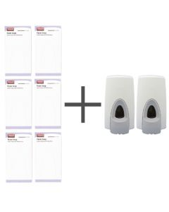 This is an image of a SALE OFFER 6 Rubbermaid Moisturising Foam Soaps and 2 FREE Dispensers