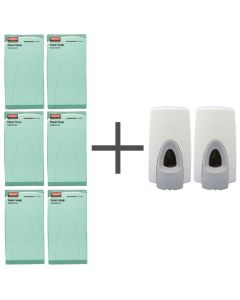 This is an image of a SALE OFFER 6 Rubbermaid Anti Bacterial Foam Soaps and 2 FREE Dispensers