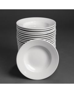 """This is an image of a Bulk Buy - Athena Hotelware Rimmed Soup Bowl - 228mm 9"""" (Box 24)"""
