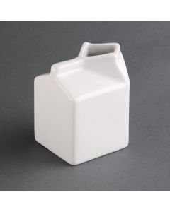This is an image of a Olympia Whiteware Porcelain Milk Jug Carton - 145ml 5oz (Box 6)