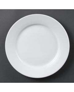 "This is an image of a Olympia Whiteware Wide Rimmed Plate - 250mm 10"" (Box 36)"