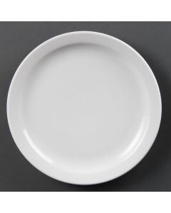 "This is an image of a Olympia Whiteware Narrow Rimmed Plate - 250mm 10"" (Box 36)"