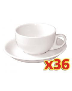 This is an image of a Olympia Whiteware Cappuccino Cup CB462 (Box36) and Saucer CB463 (Box36)
