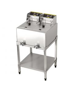 This is an image of a Buffalo 8Ltr Double Fryer 2 x 6kW with stand