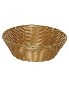 This is an image of a Poly Wicker Round Food Basket - 200x70mm (Pack 6)