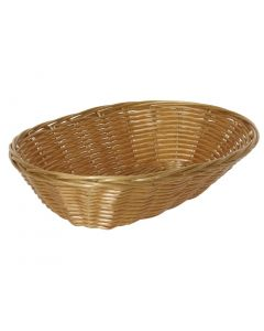 This is an image of a Poly Wicker Oval Food Basket - 230x150x65mm (Pack 6)