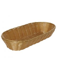 This is an image of a Poly Wicker Baguette Basket - 375x150x70mm (Pack 6)