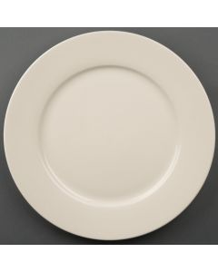 """This is an image of a Olympia Ivory Wide Rimmed Plate 31cm 12"""" (Box 6)"""