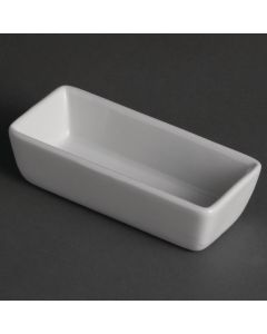 This is an image of a Olympia Whiteware Mini Dish Rectangular White 11x5x3cm (Box 12)