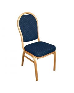 This is an image of a Bolero Aluminium Arched Back Banquet Chairs Blue (Pack of 4)