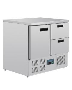 This is an image of a Polar 1 Door and 2 Drawer Counter Fridge 240Ltr