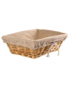 This is an image of a Wicker Basket with Removable Cloth Rectangular - 95x315x230mm