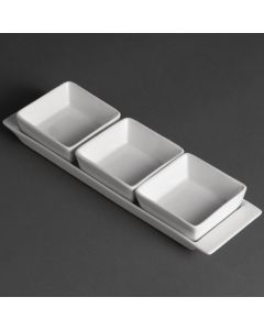 "This is an image of a Olympia Whiteware 3 Section Dishes with Plate - 300x90mm 11 34x3 12"" (Box 2)"