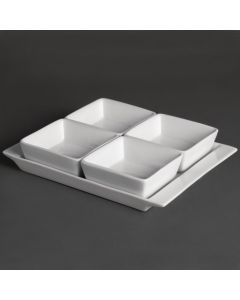 "This is an image of a Olympia Whiteware 4 Section Dishes With Plate - 215x170mm 8 12x6 34"" (Box 2)"