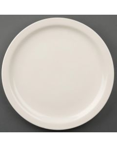 """This is an image of a Olympia Ivory Narrow Rim Plate - 255mm 10"""" (Box 12)"""