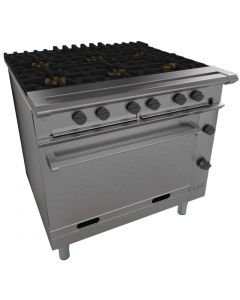 This is an image of a Falcon Chieftain Six Burner Oven Range LPG (Direct)