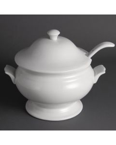 """This is an image of a Olympia Soup Tureen and Ladle White - 25Ltr 88oz 227x250mm 9x9 34"""" (Single)"""