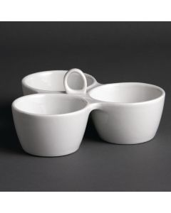This is an image of a Olympia Relish Dish 3 Pot White - 55x180x85mm (Single)