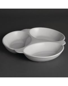 "This is an image of a Olympia Vegetable Dish 3 Section White - 250x250mm 9 34x9 34"" (Box 6)"