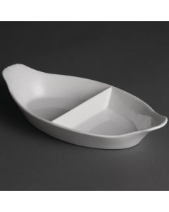 "This is an image of a Olympia Divided Oval Eared Dish White - 290Wx160mmD 11 12x6 14"" (Box 6)"