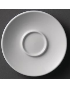 This is an image of a Olympia Espresso Saucer White - 120mm for 2oz Cup (Box 12)