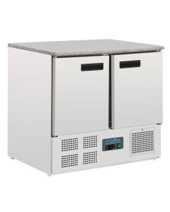 Polar Double Door Refrigerated Counter with Marble Work Top 240Ltr