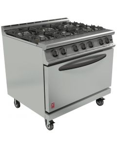 Falcon Dominator Plus 6 Burner Oven Range G3101D with Castors Natural Gas