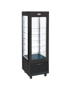 Roller Grill Display Fridge with Fixed Shelves Black