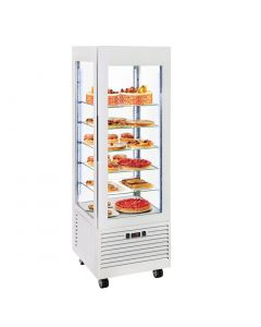 Roller Grill Display Fridge with Fixed Shelves White