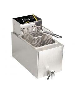 Buffalo Single Fryer - 1 x 8Ltr 6kW with Timer