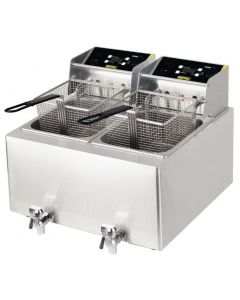 Buffalo 6kW Double Tank Countertop Fryer 2x8Ltr